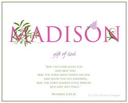 Meaning Of Invitation Card Madison Name Art Canvas With Name Meaning And Scripture Verse
