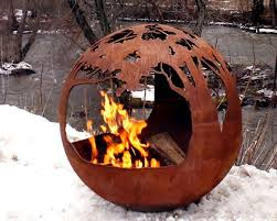 Sphere Fire Pit by Tree Life Custom Steel Fire Pit Gallery Round Sphere Sculpture