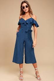 jumpsuit denim blue midi jumpsuit the shoulder jumpsuit