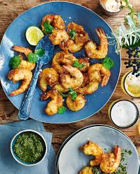 asian style prawns with spiced herb relish delicious magazine