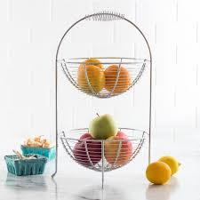 fruit and vegetable baskets ksp circ 2 tier fruit vegetable basket chromewire kitchen