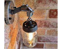 Galvanized Wall Sconce Quart Mason Jar Light Fixture Rustic Industrial Wall Sconce