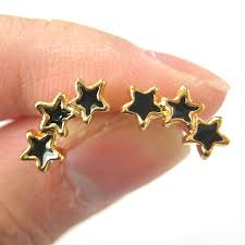store stud earrings dotoly plus small connected stud earrings in black on gold