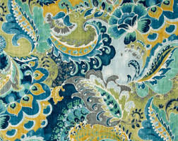 Turquoise Paisley Curtains French Country Curtains Neutral Toile Drapes Linen Colored