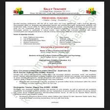 Resume Teacher Examples Sample Preschool Teacher Resume Free