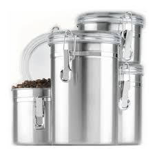 kitchen canisters stainless steel anchor hocking 4pc stainless steel canister set w clear lid