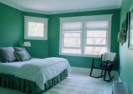 fascinating green bedroom themed with solid wood slider window