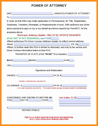 Pa Durable Power Of Attorney 12 automotive power of attorney form scholarship letter