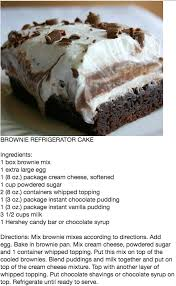 brownie refrigerator cake i have seen recipe for 1 brownie mix a