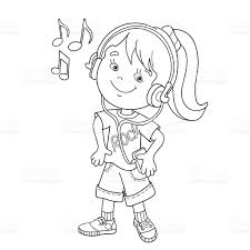 coloring page outline of in headphones listening to music