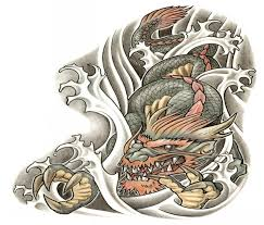 vicious colored dragon swimming in storming water tattoo design