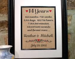 wedding anniversary gift ideas for 14th anniversary etsy