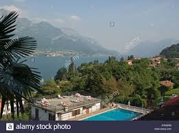 lake como italy pool of hotel belvedere in bellagio stock photo
