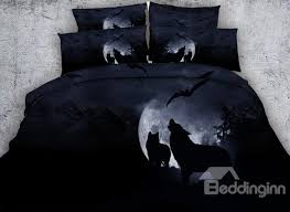 Wolf Bed Sets Wolf Howling At The Moon 3d Printed 5 Comforter Sets