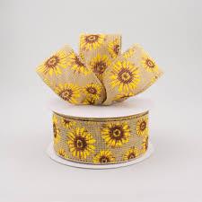 sunflower ribbon 1 5 faux burlap sunflower ribbon 10 yards q715309 49