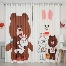 Brown Blackout Curtains New Korean 3d Blackout Curtains Brown Bunny Cony