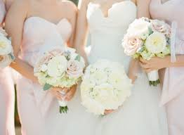 White Hydrangea Bouquet A White Bouquet For The Bride And Mixed Pastel Bouquets For The