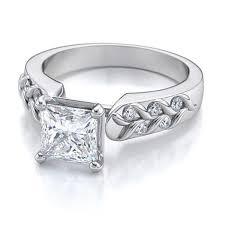 0 40 ctw princess cut art deco diamond engagement ring in 18k