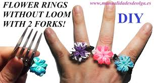 rubber bands rings images How to make a flower ring easy with 2 forks without rainbow jpg