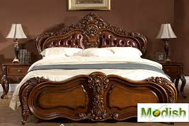 King Size Leather Headboard Classic King Size Wood Carving Bed W Leather Headboard Md13d28