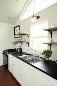 kitchen island modern industrial single wall kitchen idea black