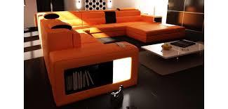 orange leather sectional sofa polaris orange leather four piece contemporary large sectional sofa