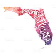 Florida Map Usa Greetings From Florida Watercolor Map Stock Vector Art 655537312