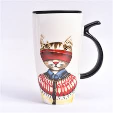 tea coffee ceramic mugs cat cup cartoon art supplies cute