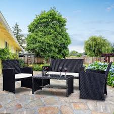 Rattan Patio Furniture Sets Costway 4 Pc Rattan Patio Furniture Set Garden Lawn Sofa Wicker