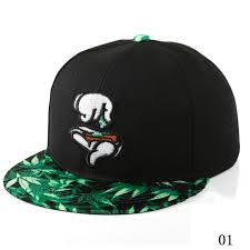 American Flag Flat Bill Hat Finger Marijuana Leaf Print Men Hip Hop Baseball Cap Adjustable