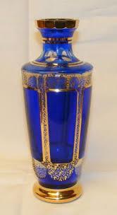 Antique Cobalt Blue Vases Cobalt Blue Hand Painted Bohemian Vase Art Glass Gold Floral Czech