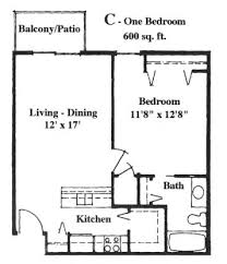 apartment square footage apartment with 600 square feet