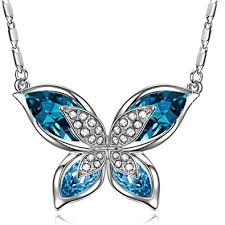 butterfly jewelry necklace images Sivery ocean blue quot butterfly quot necklace with crystals from jpg
