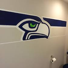 seattle seahawks bathroom logo hand painted with acrylic paint by