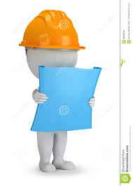 Plan Builder 3d Small People Builder With The Plan Stock Illustration Image