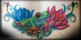 frog with flowers tattoo design tattoos book 65 000 tattoos