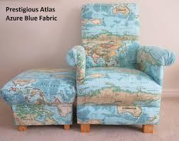 World Map Fabric by Prestigious Atlas Azure Blue Chair U0026 Footstool World Map