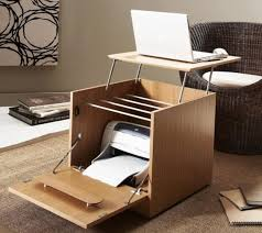 creative portable home office desk with printer storage for small