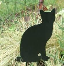 decorative black cat silhouette metal garden cat ornament