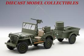 willys jeep truck green jeep willys army green with trailer and accessories 1 18 by