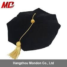 doctoral cap 4 sided black velvet doctoral tam with golen bullion tassle buy
