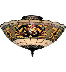 stained glass ceiling light fixtures elk lighting 941 tb tiffany buckingham vintage antique 16 inch 3