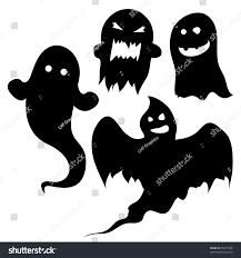 Halloween Silhouettes by Set Ghost Silhouettes Halloween Spooky Designs Stock Vector