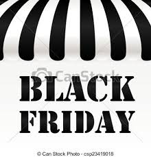 black friday artwork vector clip art of black friday text on black and white awning