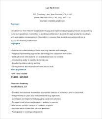 4 Resumes Samples For Teachers by Download First Time Teacher Resume Haadyaooverbayresort Com