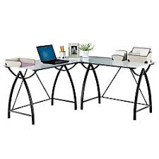 Realspace Alluna Collection Glass L Shape Desk Black Framefrosted