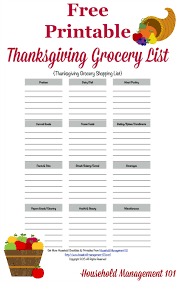 printable thanksgiving grocery list shopping list grocery