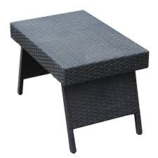 Outdoor Folding Side Table Adeco Black Wicker Folding Side Table Ft0119 1