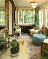 interior sunroom design idea with wide glass doors and windows