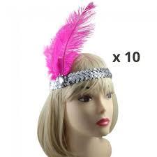 flapper headband bulk hens pink flapper burlesque headbands
